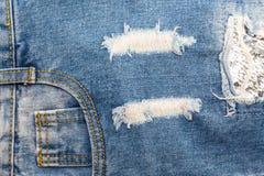 Rozprucie niebiescy dżinsy Obrazy Royalty Free