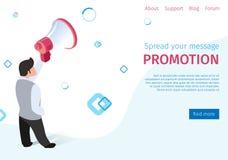 Rozprzestrzenia Twój wiadomości promocję na Ogólnospołecznych sieciach ilustracja wektor