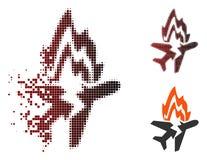 Rozpuszczająca Pixelated Halftone oparzenie Samolotowa ikona ilustracja wektor