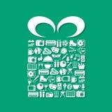Rozrywek ikony w prezenta pudełku ilustracji
