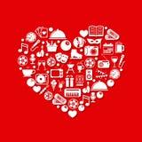Rozrywek ikony w sercu royalty ilustracja