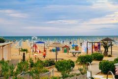 Rozrywka dla dzieci na linii brzegowej Rimini, Włochy Fotografia Royalty Free