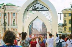 Rozrywka dla turystów w St Petersburg Wideo komunikacja z mieszkanami zdjęcie royalty free