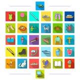 Rozrywka, tkaniny, odtwarzanie i inna sieci ikona w mieszkaniu, projektujemy sporty, zwierzę, edukacj ikony w ustalonej kolekci ilustracji