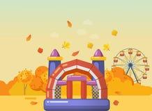 Rozrywka z nadmuchiwanym hazardu kompleksem z obruszeniami, drabiny, trampolines ilustracji