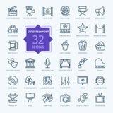 Rozrywki ikona ustawia - zarysowywa ikony kolekcję, wektor ilustracja wektor