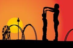 rozrywkowy ferris noc parka wektoru koło royalty ilustracja
