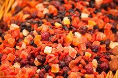 Rozrzucanie różne candied owoc na kontuarze Zdjęcia Royalty Free
