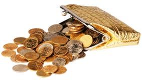 rozrzucony moneta portfel Obrazy Stock