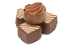 rozsypisk czekoladowi pralines Zdjęcia Stock