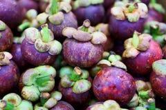 Rozsypisko świezi purpurowi mangostany obraz stock
