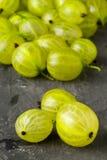 Rozsypisko dojrzała, świeża zbierająca zielona agrestowa owoc, Obrazy Stock