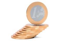 Rozsypisko Euro monety, 3D rendering Zdjęcie Royalty Free