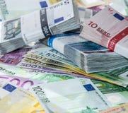 Rozsypisko Euro rachunki Obrazy Royalty Free