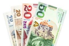 Rozsypisko georgian lari banknotów tło