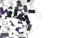 Rozsypisko Mądrze telefony z Pustymi ekranami odizolowywającymi na białym tle z miejscem dla twój teksta 3d odpłaca się ilustracj ilustracji
