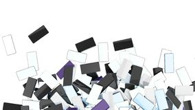 Rozsypisko Mądrze telefony na białym tle żadny cień z miejscem dla twój teksta 3d odpłaca się ilustrację ilustracja wektor