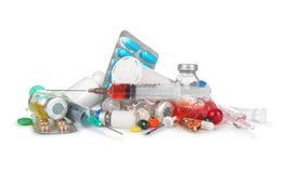 Rozsypisko medyczne strzykawki, butelki, pigułki, Fotografia Royalty Free