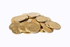 Rozsypisko monety odizolowywać na białym tle Obrazy Royalty Free