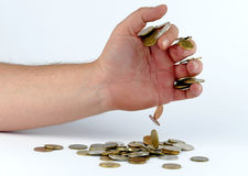 Rozsypisko monety w ręce Fotografia Stock