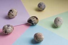 Rozsypisko przepi?rek jajka na koloru tle Jarski organicznie eco jedzenie obrazy stock