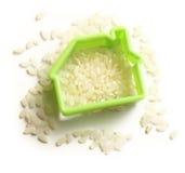 Rozsypisko ryż i domowy wizerunek Fotografia Royalty Free