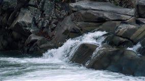 Rozszalała halna rzeka Bezludzie czysta, jasna woda w halnej rzece, swobodny ruch zbiory wideo
