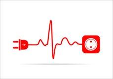 Rozszerzenie sznur w postaci bicia serca również zwrócić corel ilustracji wektora ilustracji
