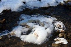 Roztapiający śnieg w rzece obraz royalty free