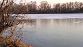 Roztapiający lód na rzece w wiośnie zdjęcie wideo