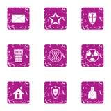 Roztropność ikony ustawiać, grunge styl royalty ilustracja