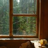 Roztrzaskujący okno i szkła kawałki obraz royalty free