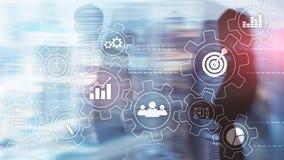 Rozwój biznesu automatyzaci pojęcie Przekładnie i ikony na abstrakcjonistycznym tle zdjęcia stock