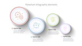 Rozwój biznesu mapy infographics z 4 kroków segmentami Circul royalty ilustracja