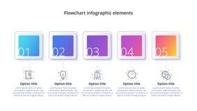 Rozwój biznesu mapy infographics z 5 kroków segmentami Circul royalty ilustracja