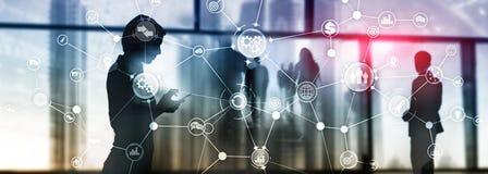 Rozw?j biznesu struktury obieg diagrama automatyzacji innowacji przemys?owy poj?cie na wirtualnym ekranie mieszaj?cym zdjęcia stock