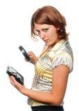 rozważa kierowca dziewczyny ciężki magnifier Fotografia Stock