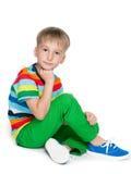 Rozważna śliczna chłopiec Obraz Stock