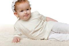 rozważna mała dziewczyny rudzielec zdjęcie royalty free