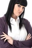 Rozważna Poważna kobieta z rękami Składał Patrzeć Dokuczająca Zdjęcia Stock