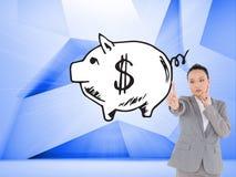Rozważny azjatykci bizneswomanu wskazywać Zdjęcie Royalty Free
