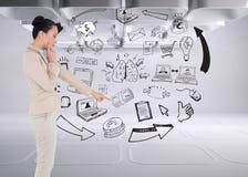 Rozważny azjatykci bizneswomanu wskazywać Obraz Stock