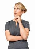 Rozważny bizneswoman Z ręką Na podbródku Zdjęcia Stock