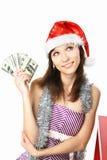 rozważny dziewczyna pieniądze Obraz Royalty Free