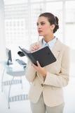 Rozważny mądrze brown z włosami bizneswoman wypełnia agendę Fotografia Stock
