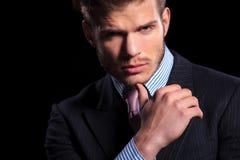 Rozważny poważny młody biznesowy mężczyzna Fotografia Royalty Free