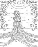 Rozważny sowy obsiadanie na fiszorek rzece jest w tle z ramą robić gałąź z liśćmi książkowa kolorowa kolorystyki grafiki ilustrac Zdjęcie Royalty Free