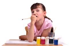 rozważny dziewczyna rysunkowy obrazek Fotografia Stock