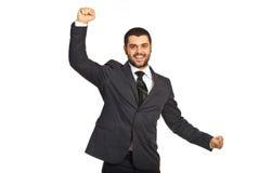 Rozwesela szczęśliwy wykonawczy mężczyzna Zdjęcia Royalty Free
