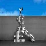 Rozweselający biznesmen na górze ściany z sterta pieniądze symbolami Fotografia Royalty Free